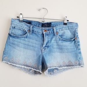 Lucky Brand Embroidered Malibu Short Jean Shorts 8